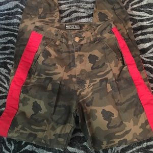 Cuffed Camo joggers with red stripe stretchy